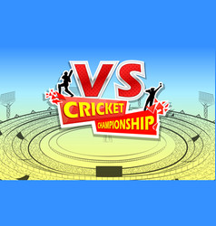 Stadium of cricket with pitch and vs versus text vector
