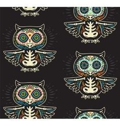 sugar skull owls pattern mexican day dead vector image