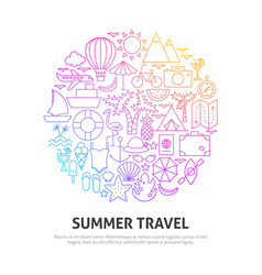 summer travel circle concept vector image
