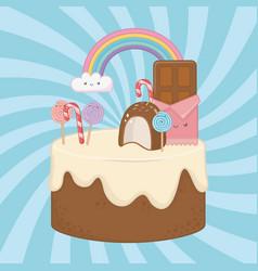 Sweet cake chocolate cream with kawaii vector