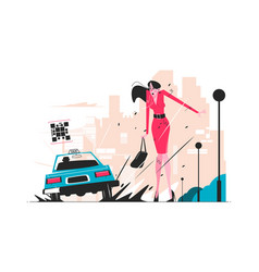 taxi car splattering woman vector image