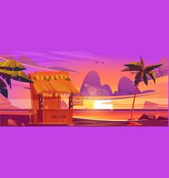 tiki bar with tribal masks on sea beach at sunset vector image