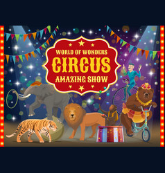 trained animals and acrobat circus show vector image