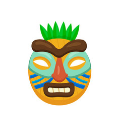 ugly african mask with opened mouth with thick vector image