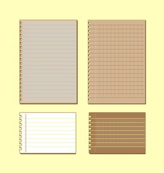Vintage lined papers on yellow background vector