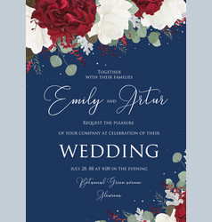 wedding floral invitation save the date design vector image
