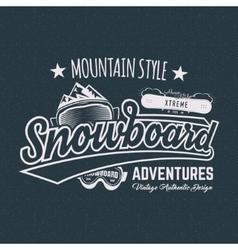 Winter snowboard sports label t shirt Vintage vector