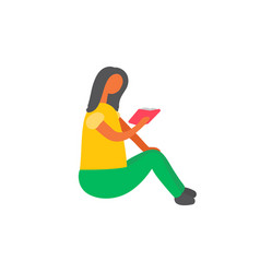 woman sitting on floor and reading book vector image