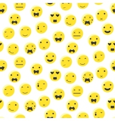Yellow round smile emoji seamless pattern vector