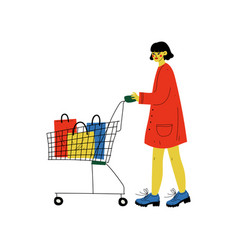 young woman walking with shopping cart girl vector image