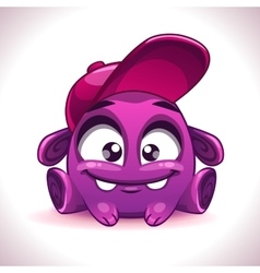 Funny cartoon purple alien monster character vector image vector image