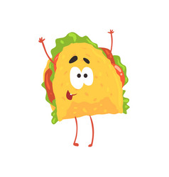 funny taco cartoon character meat and vegetables vector image