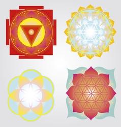 Mandalas and Yantra set vector image vector image