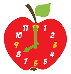 Red Apple Clock vector image vector image