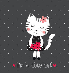 With cute cat vector