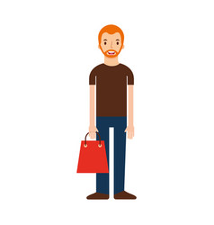 young man holding paper bag shopping vector image