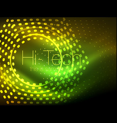 glowing neon dotted shape abstract background vector image