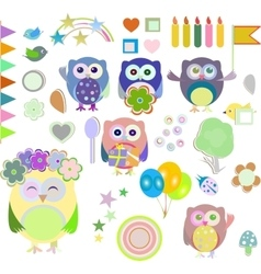 Set of christmas and winter themed owls vector image