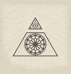 all seeing eye vintage background vector image