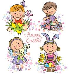kids celebrate Easter vector image