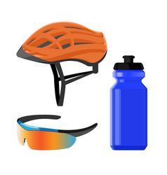 cycling sportswear helmet plastic drinking bottle vector image vector image