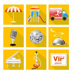 set of icons for the service of the restaurant vector image