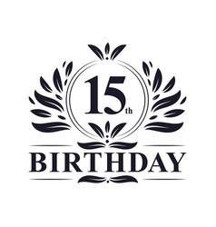 15th birthday logo 15 years birthday celebration vector