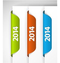 2014 Labels Stickers on the edge of the web page vector