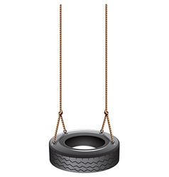 A tire swing with a rope vector