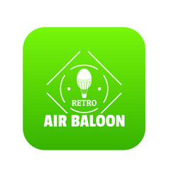 air balloon icon green vector image