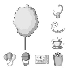 amusement park monochrome icons in set collection vector image