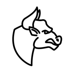 angry bull icon in line style design element vector image