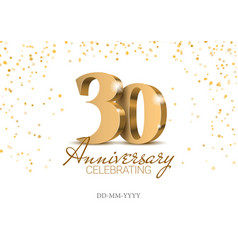 anniversary 30 gold 3d numbers vector image