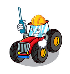 Automotive tractor mascot cartoon style vector