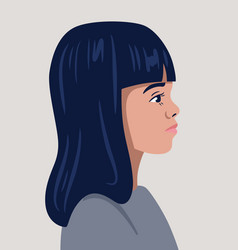 avatar beautiful girl profile portrait vector image