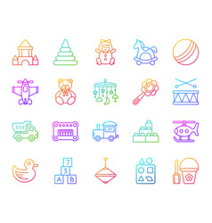 Baby toy simple color line icons set vector