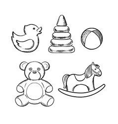 Bear duck ball pyramid and horse toys vector