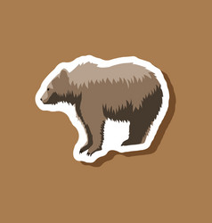 Bear paper sticker on stylish background vector
