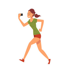 beautiful athlete girl taking selfie photo while vector image