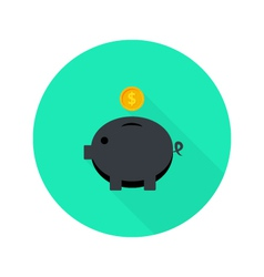 Black money pig with dollar coin flat icon with vector