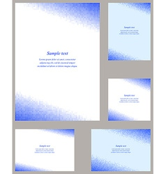 Blue mosaic page corner design template set vector
