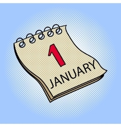Calendar January 1 pop art vector