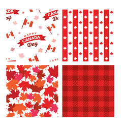 canada seamless patterns independence day vector image
