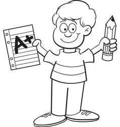 Cartoon Boy Holding a Pencil vector
