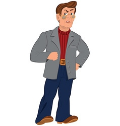 Cartoon man in glasses and gray jacket vector