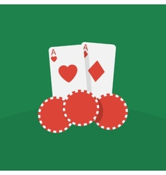 Casino cards and chips vector image