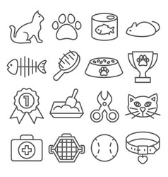 cat line icons set on white background vector image