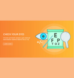 Check your eyes banner horizontal cartoon style vector
