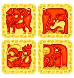 Chinese horoscope animal set vector