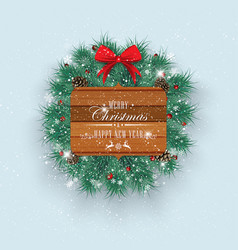 Christmas decorations with fir tree holly berries vector